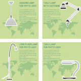 Four card with lamps. Vector infographic elements LED lamp with world map four card with lamps Stock Photography