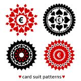 Four card suit round patterns royalty free illustration