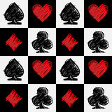 Four card suits. Cards deck pattern. Black and red four card suits on white and black squares. Cards deck. Digital background vector pattern stock illustration
