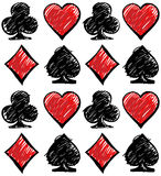 Four card suits. Cards deck pattern. Royalty Free Stock Photos