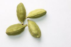 Four cardamom seeds close-up. Macro. Royalty Free Stock Image
