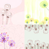 Four cards with dandelions Royalty Free Stock Photos