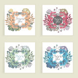 Four cards. Floral frame. Hand drawn creative flower. Colorful artistic background with blossom. Abstract herb Royalty Free Stock Photos