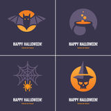 Four cards with  Halloween symbols Stock Photo