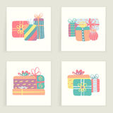 Four cards. Hand drawn creative gifts isolated on white. Colorful artistic backgrounds. With presents. It can be used for invitation, thank you message Royalty Free Stock Image