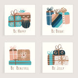 Four cards. Hand drawn creative gifts isolated on white. Colorful artistic backgrounds with presents. It can be used for invitation, thank you message Royalty Free Stock Image