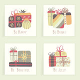 Four cards. Hand drawn creative gifts isolated on white. Colorful artistic backgrounds with presents. It can be used for invitation, thank you message Royalty Free Stock Photos