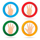 Four cards with a hands. Colored Cards in a hand. Vector illustration Vector Illustration