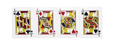 Four cards of Jack. Four playing cards of Jack Stock Photography