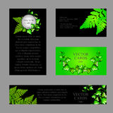 Four cards with the texture of green fern Royalty Free Stock Photos