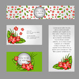 Four cards with the texture of lilies and sample. Text on white and green background Stock Photo