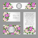 Four cards with white and pink field flowers. For your design needs Royalty Free Stock Image