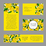Four cards with yellow daffodils on a yellow Royalty Free Stock Photo