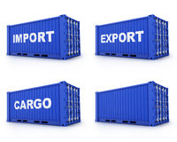 Four cargo container Stock Images