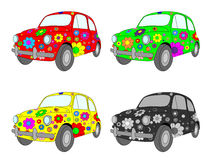 Four cars. Vector picture of four funny cars with floral ornament Stock Image