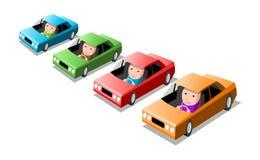 Four cars. Set colored cars, cartoon illustration Stock Photo