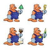 Four cartoon beavers in different construction images on a white background. stock illustration