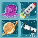 Four cartoon images of space objects Stock Image