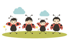 Four cartoon ladybirds on white background. Flat vector. Royalty Free Stock Images
