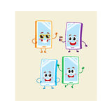 Four cartoon mobile phone, smartphone character set with human faces. Set of cartoon mobile phone, smartphone characters with human faces jumping, excited, happy Royalty Free Stock Photography