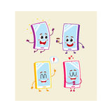 Four cartoon mobile phone, smartphone character set with human faces. Set of cartoon mobile phone, smartphone characters with human faces jumping, excited, happy Royalty Free Stock Photos
