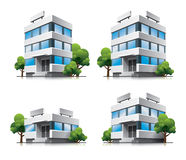 Four cartoon office vector buildings with trees. This illustration is EPS10 vector file and includes transparency multiply effects in shadows in separate layer Stock Photo