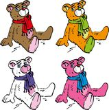 Four Cartoon teddy bears different colour Stock Photography