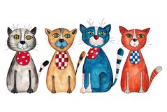 Four cats. Artistic work. Acrylic and watercolors on paper Stock Images