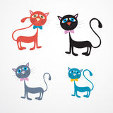 Four Cats Illustration. Cats Illustration Isolated on White Background Royalty Free Stock Photos