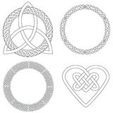Four Celtic Designs. 2 circles in celtic knots, a trinity knot (or triquetra), and a heart shaped celtic knot Royalty Free Stock Photography