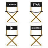 Four chairs for director, camera, star and symbol. Vector illust. Vector illustration design. Four chairs for director, camera, star and symbol Stock Image