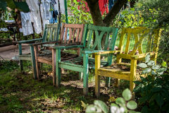 Four chairs in a garden. A set of colored chairs in a peaceful garden Stock Photos