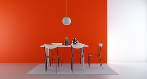 Four Chairs and table to face a blank wall Stock Images