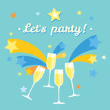 Four champagne glasses. Celebration or holiday with fireworks. Four champagne glasses. Celebration, holiday or party with fireworks. Poster with blue background Stock Images