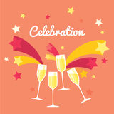 Four champagne glasses. Celebration or holiday with fireworks. Poster with pink background and stars Stock Photos