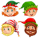 Four characters of Christmas elves Stock Images