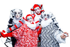 Four cheerful clown Royalty Free Stock Photography