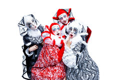 Four cheerful clown Royalty Free Stock Images