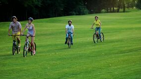 Four cheerful students cycling on green lawn. stock footage