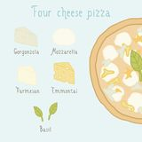 Four cheese pizza ingredients. Vector EPS 10 hand drawn illustration Royalty Free Stock Images