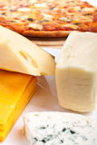 Four cheeses pizza ingredients Royalty Free Stock Photos