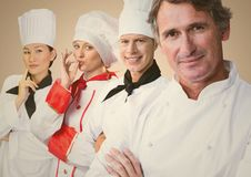 Four chefs against cream background Royalty Free Stock Image