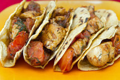Four chicken tacos royalty free stock photo