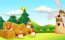 Four chickens at the hay with a windmill Stock Photography