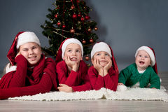 Four children are around Christmas tree. Royalty Free Stock Photography