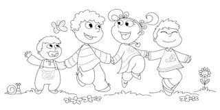 Four children BW. Four children running happily together. Coloring black and white illustration Stock Photography