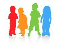 Four children in diffrent color. Royalty Free Stock Photo