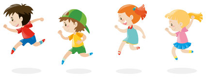 Four children running around Stock Photos