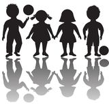 Four children silhouettes Royalty Free Stock Photography