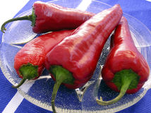 Four chili. Chilli's paprika on glass plate Stock Photo